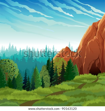 Green landscape with meadow, forest and mountains on a cloudy sky background - stock vector