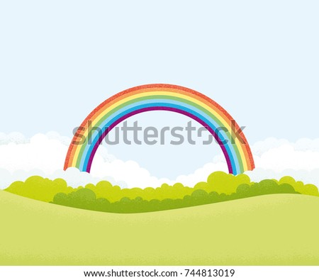 Green landscape with rainbow. Noise texture. Vector illustration