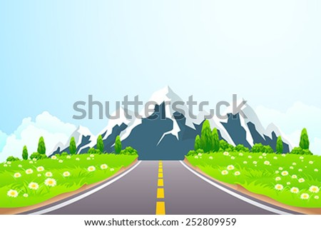 Green Landscape with Road Clouds and mountains - stock vector
