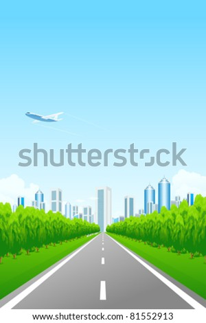 Green landscape with road trees city and clouds - stock vector
