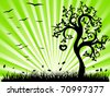 Green landscape with silhouettes of trees and grass - stock vector
