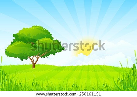 Green Landscape with Tree - stock vector