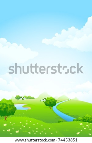 Green landscape with tree lake river house mountains and clouds - stock vector