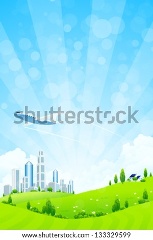 Green landscape with trees, city, airplane and clouds