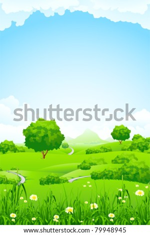 Green Landscape with trees clouds flowers and mountains - stock vector