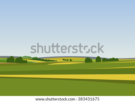 Green landscape with yellow fields. Lovely rural nature. Unlimited space. Vector illustration. - stock vector
