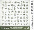 Green large Icons Set. Vector Collection. Clean Symbol for Your Design. - stock vector
