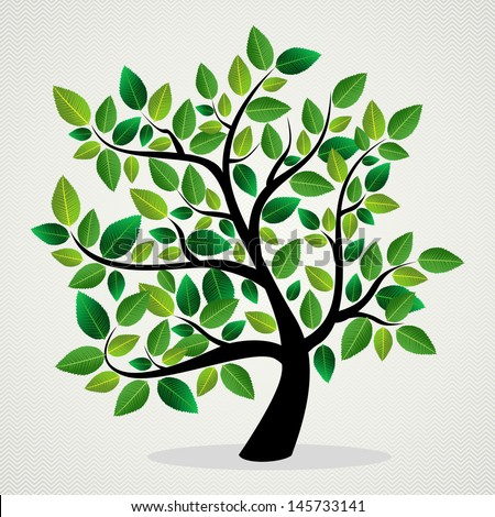 Green leaf eco friendly tree design background. Vector file layered for easy manipulation and custom coloring. - stock vector