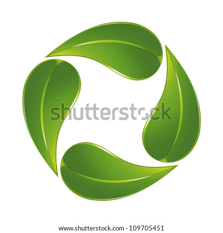Green leaf icon - stock vector