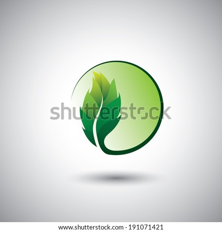 green leaf icon & circle - eco concept vector. This graphic also represents environmental protection, nature conservation, eco friendly, renewable, sustainability, nature loving  - stock vector