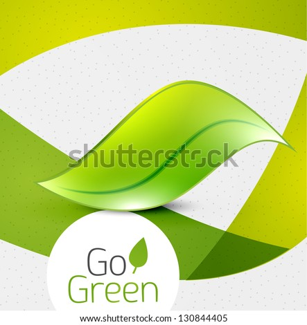 Green leaf icon concept - stock vector
