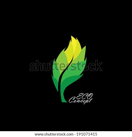 green leaf icon with dark & light shades - eco concept vector. This graphic also represents environmental protection, nature conservation, eco friendly, renewable, sustainability, nature loving - stock vector