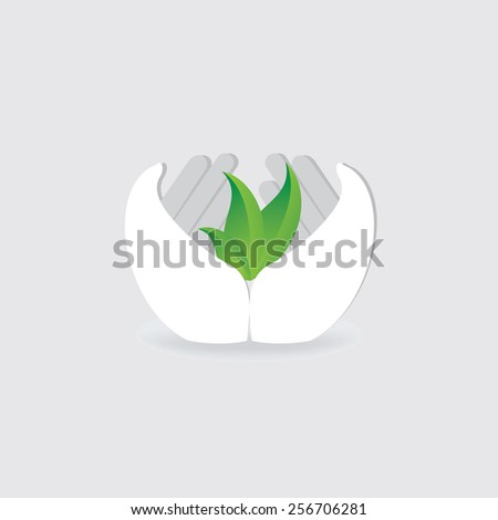 green leaf in hands, save green concept  - stock vector