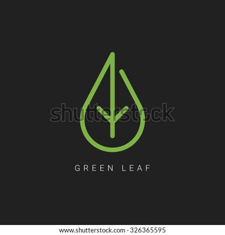 Green leaf line art logo. Energy type. Alternative energy. Green company logo. Vector illustration - stock vector