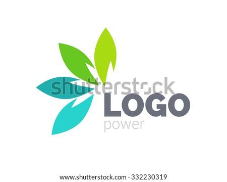 Green leaf logo design. Four leaves health environmental logo. Green Leaf logo, health icon - stock vector
