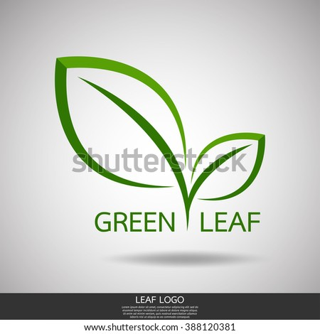 green leaf nature curve logo vector template.abstract line symbol of design - stock vector