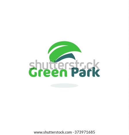 Green leaf park garden vector isolated logo. Unusual outdoor simple logotype. Eco system organic forest. Harvest icon. - stock vector