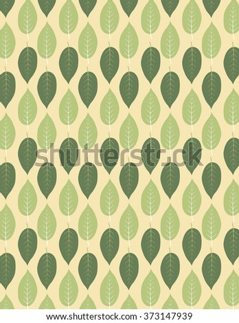 Green leaf pattern over tan color background - stock vector