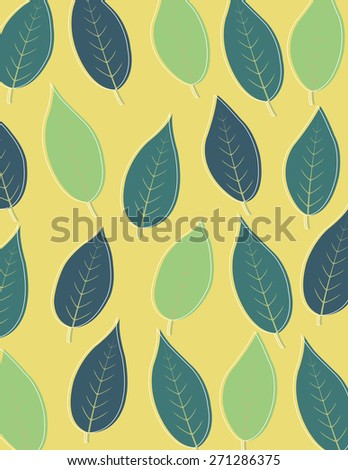 Green leaf pattern over yellow color background - stock vector