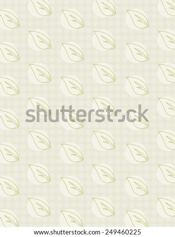 Green leaf repeating pattern over green dotted background - stock vector