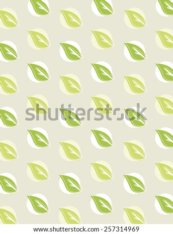 Green leaf repeating pattern over tan background - stock vector