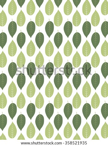 Green leaf repeating pattern over white background - stock vector