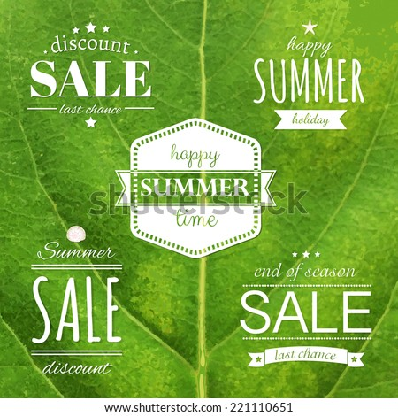 Green Leaf Texture With Summer Label, Vector Illustration - stock vector