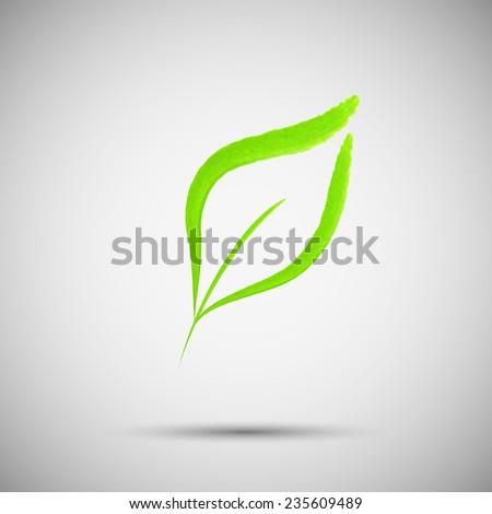 Green leaf vector design logo template.  Emblem symbol. Ecological concept - stock vector