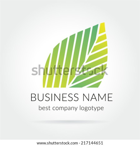 Green leaf vector logotype isolated on white background - stock vector