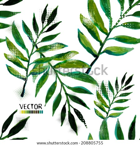 Green leaf watercolor. Seamless background  . Vector - stock vector