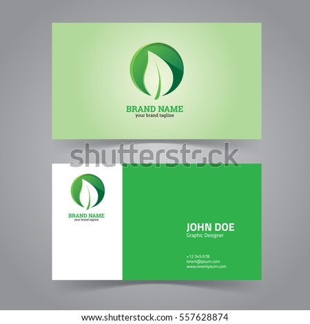 Green leaf circle logo design template stock vector royalty free green leaf with circle logo design template business card reheart Choice Image