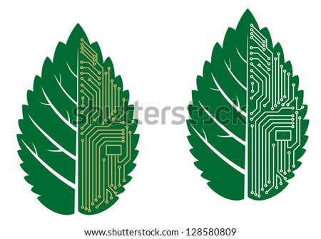 Green leaf with computer and motherboard elements for technology concept. Jpeg version also available in gallery - stock vector