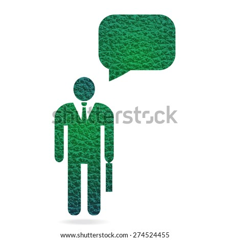 green leather texture businessman with speech bubble for text - stock vector