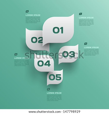 green leaves abstract background - 3d paper infographics design - vector