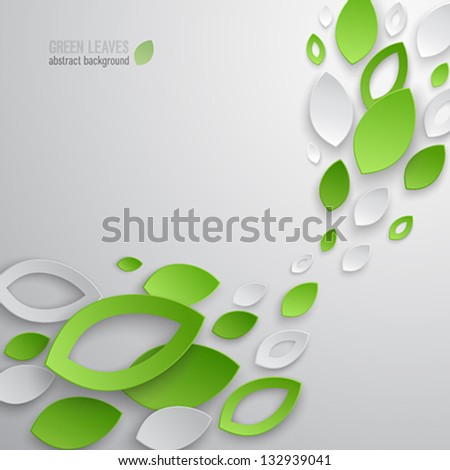 Green leaves abstract background. Vector illustration. - stock vector
