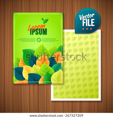 Green leaves abstract flyer background. Vector illustration. Flyer template back and front design for ecology with leaves in green color - stock vector