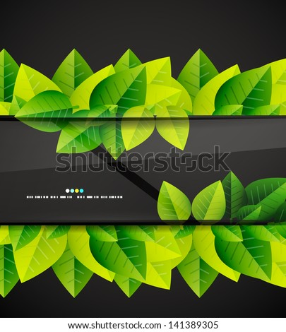 Green leaves and glass vector background - stock vector