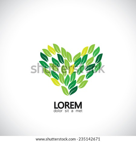 green leaves as heart shape, nature love - eco concept vector. This also represents nature conservation, evergreen forests protection, sustainable development & growth, balance in nature, harmony - stock vector
