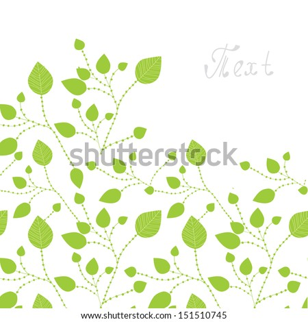 Green leaves background - card design - stock vector
