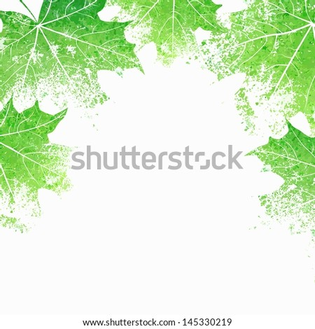 Green leaves background. Eco design template. Summer illustration with maple leaves. - stock vector