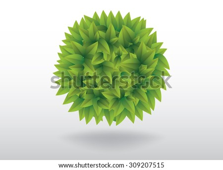 Green leaves ball bubble vector illustration - stock vector