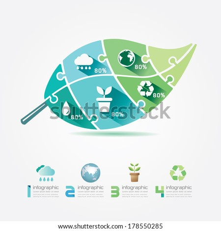 Green Leaves Design Elements Ecology Infographic Jigsaw Concept.Vector Illustration. - stock vector