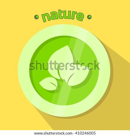 Green Leaves Eco Icon Nature Environment Logo Flat Vector Illustration - stock vector