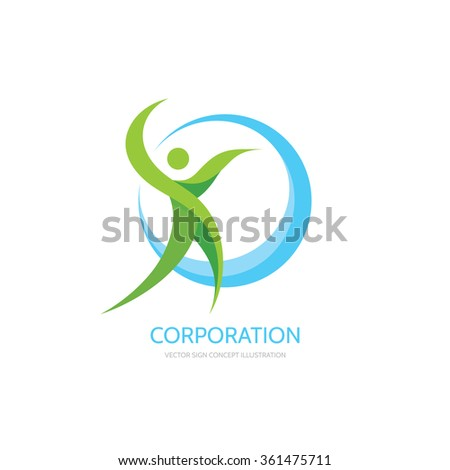 Green leaves human character - vector logo template concept illustration. Healthy sign. Ecology symbol. Ecosystem icon. Organic insignia. Design elements.  - stock vector