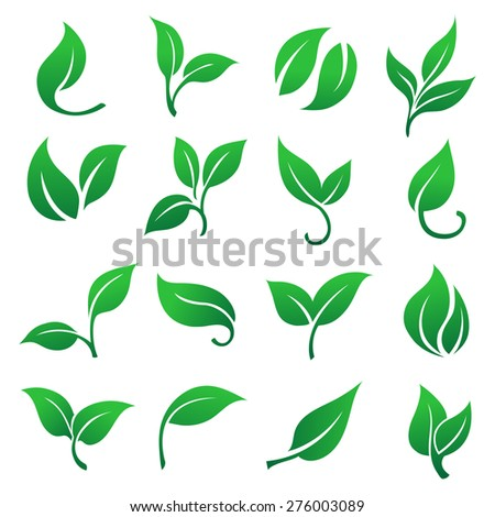 Green leaves icons set. - stock vector
