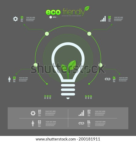 Green leaves in light bulb icon design can be used for workflow layout, chart, number options, presentation, web design. Eps 10 stock vector illustration - stock vector