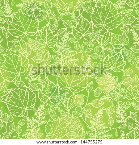 Green leaves lineart texture seamless pattern background - stock vector