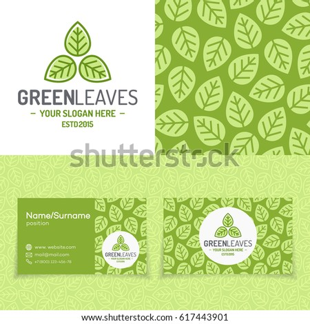 Garden Design Business Cards green tree logo set consisting emblem stock vector 617443832