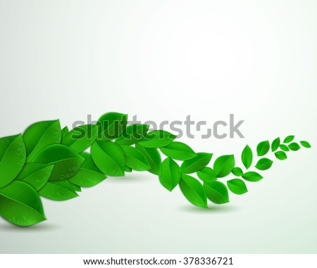 green leaves on a white background, Vector illustration of ecology concept.  Eco Concept with glossy fresh green leaves - stock vector