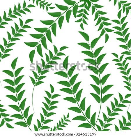 Green leaves pattern on white background, vector illustration - stock vector